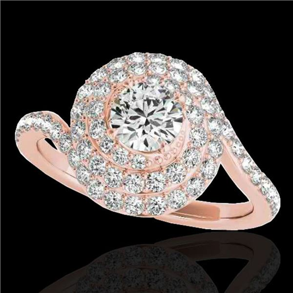 2.11 ctw Certified Diamond Solitaire Halo Ring 10k Rose Gold - REF-259G3W