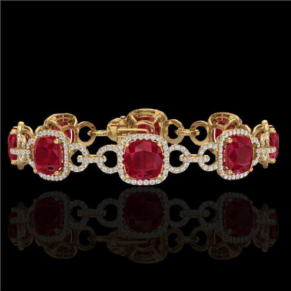 25 ctw Ruby & Micro VS/SI Diamond Certified Bracelet 14k Yellow Gold - REF-457K3Y