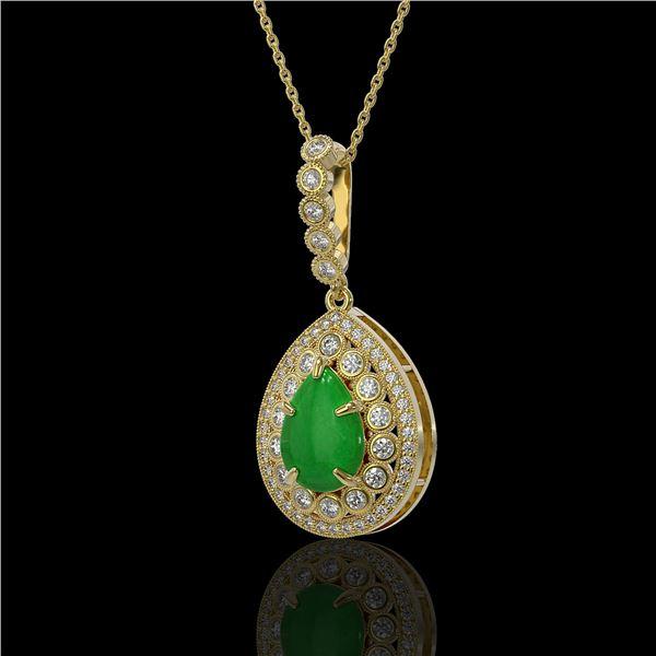 4.07 ctw Jade & Diamond Victorian Necklace 14K Yellow Gold - REF-118G2W