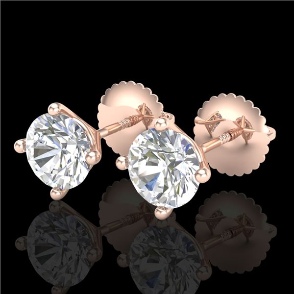 1.5 ctw VS/SI Diamond Solitaire Art Deco Stud Earrings 18k Rose Gold - REF-208H6R