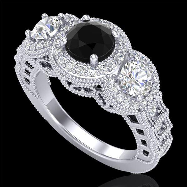 2.16 ctw Fancy Black Diamond Art Deco 3 Stone Ring 18k White Gold - REF-254Y5X