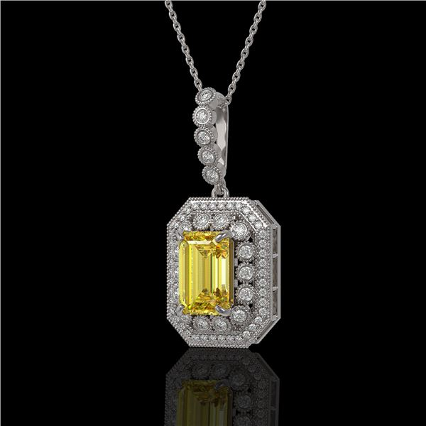 5.82 ctw Canary Citrine & Diamond Victorian Necklace 14K White Gold - REF-172H8R