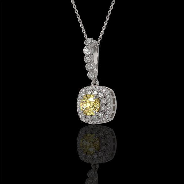 1.95 ctw Canary Citrine & Diamond Victorian Necklace 14K White Gold - REF-69Y6X