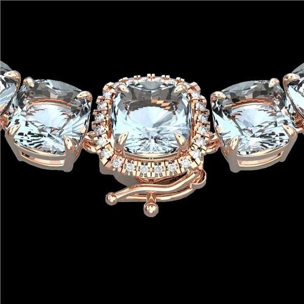 87 ctw Aquamarine & Diamond Micro Eternity Necklace 14k Rose Gold - REF-1345K5Y
