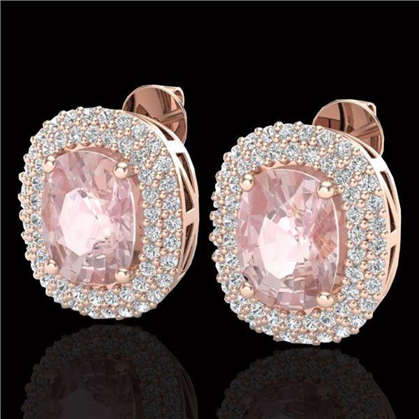 5.50 ctw Morganite & Micro Pave VS/SI Diamond Earrings 14k Rose Gold - REF-147R8K