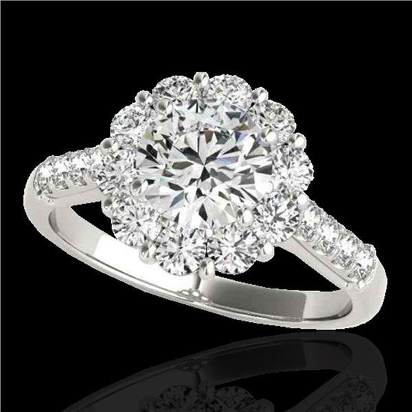 2 ctw Certified Diamond Solitaire Halo Ring 10k White Gold - REF-225R2K
