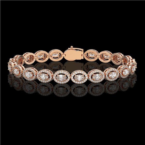 8.06 ctw Oval Cut Diamond Micro Pave Bracelet 18K Rose Gold - REF-699F3M