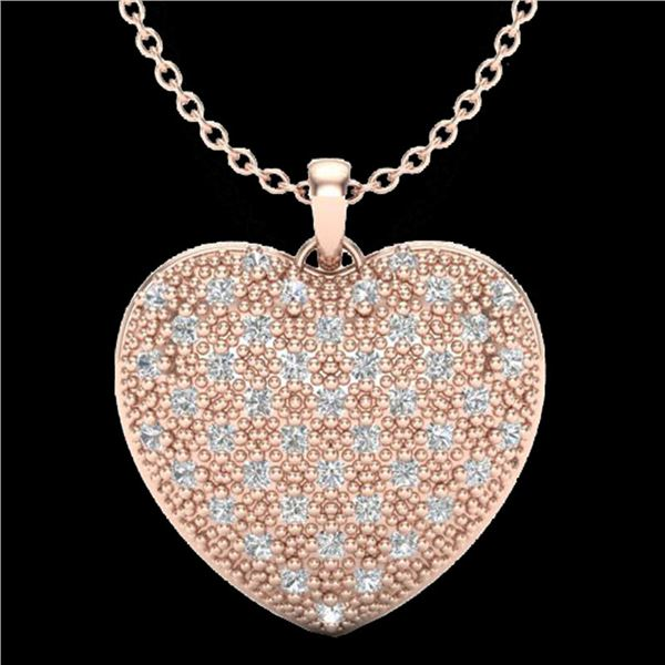 1.0 ctw Micro Pave VS/SI Diamond Heart Necklace 14k Rose Gold - REF-87X3A