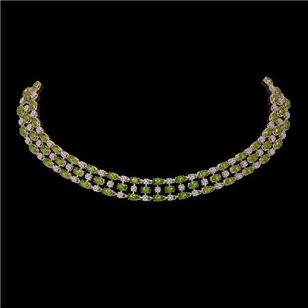 56.93 ctw Tourmaline & Diamond Necklace 10K Rose Gold - REF-709W3H