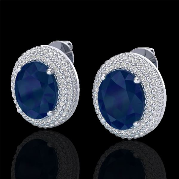 9.20 ctw Sapphire & Micro Pave VS/SI Diamond Earrings 18k White Gold - REF-190Y2X