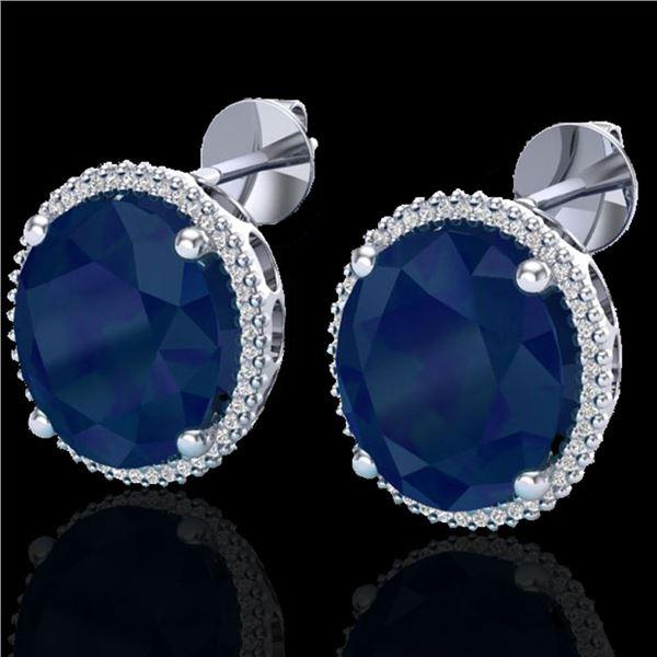 25 ctw Sapphire & Micro Pave VS/SI Diamond Earrings 18k White Gold - REF-200N2F