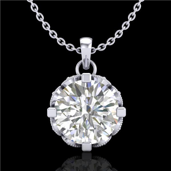 1.5 ctw VS/SI Diamond Solitaire Art Deco Stud Necklace 18k White Gold - REF-363K5Y