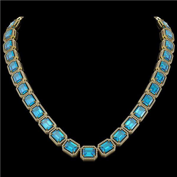 79.01 ctw Swiss Topaz & Diamond Micro Pave Halo Necklace 10k Yellow Gold - REF-836H4R