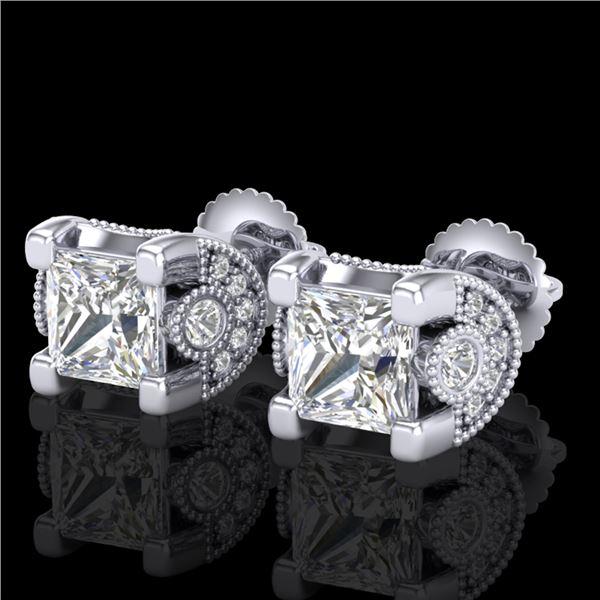 2.5 ctw Princess VS/SI Diamond Art Deco Stud Earrings 18k White Gold - REF-585Y2X