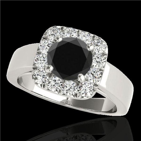 1.55 ctw Certified VS Black Diamond Solitaire Halo Ring 10k White Gold - REF-57M3G