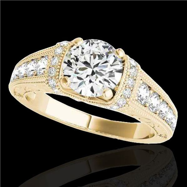 1.5 ctw Certified Diamond Solitaire Antique Ring 10k Yellow Gold - REF-211A4N