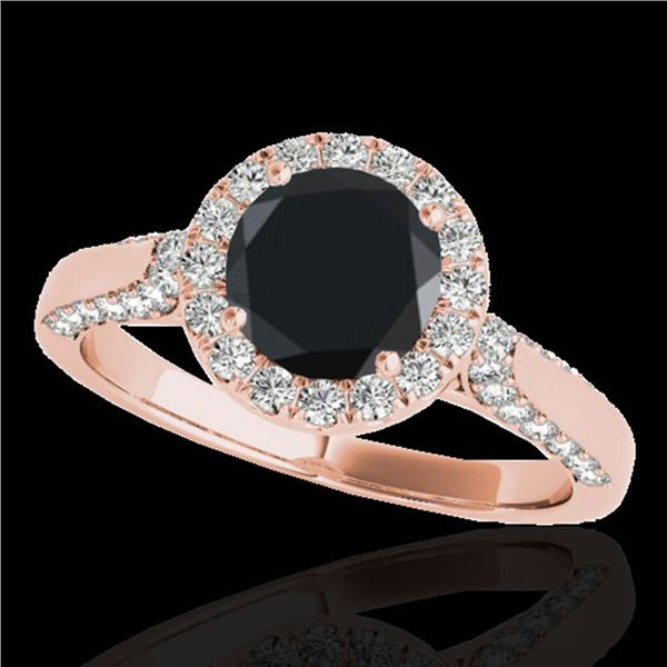 2.15 ctw Certified VS Black Diamond Solitaire Halo Ring 10k Rose Gold - REF-72X8A