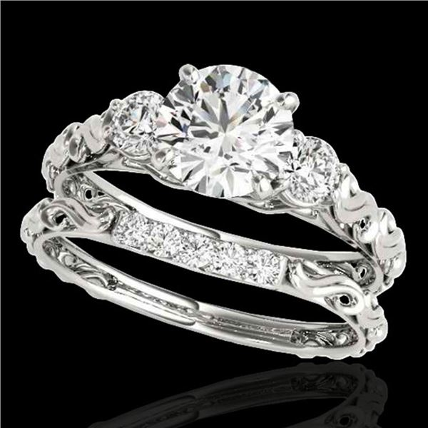 1.35 ctw Certified Diamond 3 Stone Ring 10k White Gold - REF-177K3Y