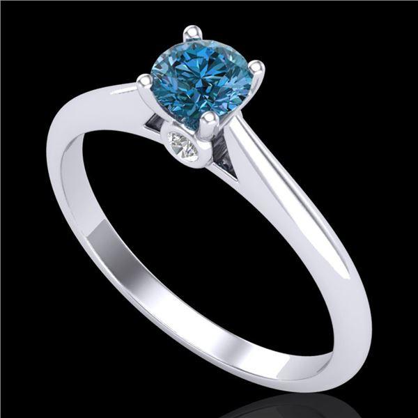 0.4 ctw Intense Blue Diamond Engagment Art Deco Ring 18k White Gold - REF-60N2F