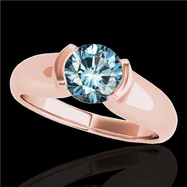 1 ctw SI Certified Fancy Blue Diamond Solitaire Ring 10k Rose Gold - REF-107W8H