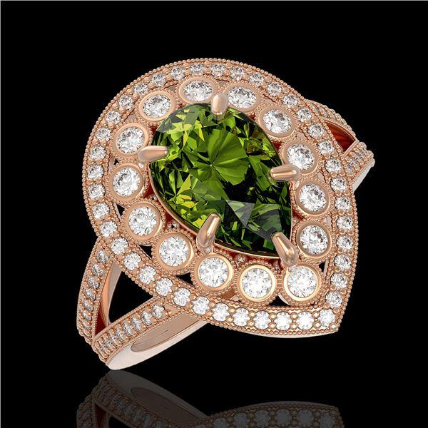 5.02 ctw Certified Tourmaline & Diamond Victorian Ring 14K Rose Gold - REF-172Y8X