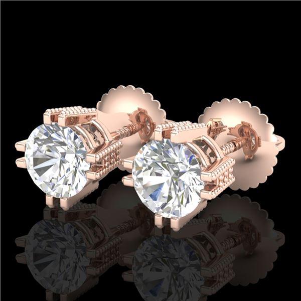 1.07 ctw VS/SI Diamond Solitaire Art Deco Stud Earrings 18k Rose Gold - REF-200W2H