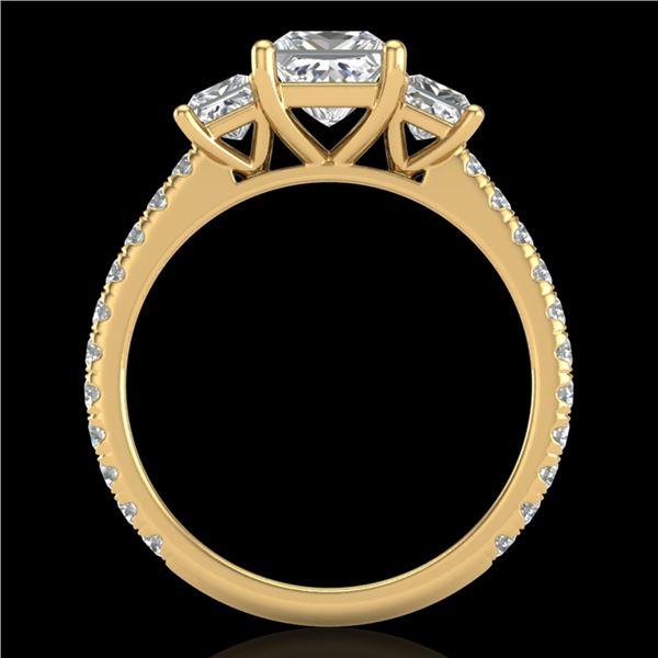 2.14 ctw Princess VS/SI Diamond Art Deco 3 Stone Ring 18k Yellow Gold - REF-454A5N