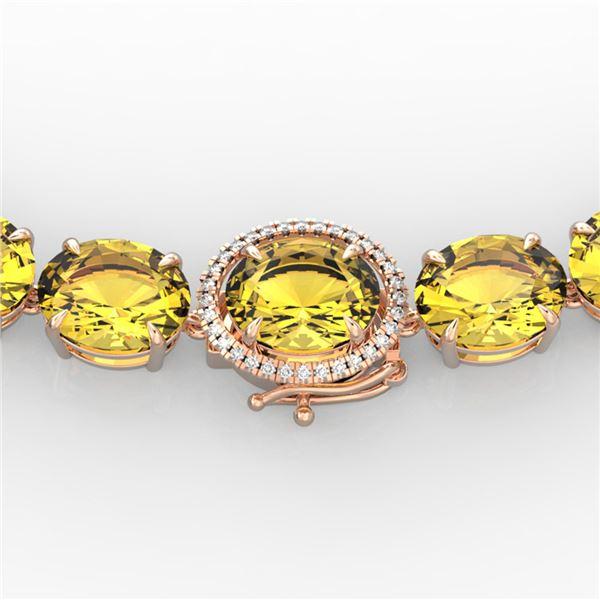 175 ctw Citrine & VS/SI Diamond Halo Micro Necklace 14k Rose Gold - REF-483F6M