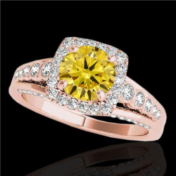 2 ctw Certified SI/I Fancy Intense Yellow Diamond Halo Ring 10k Rose Gold - REF-259Y3X