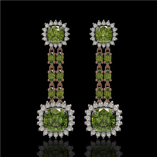 18.38 ctw Tourmaline & Diamond Earrings 14K Rose Gold - REF-416Y9X