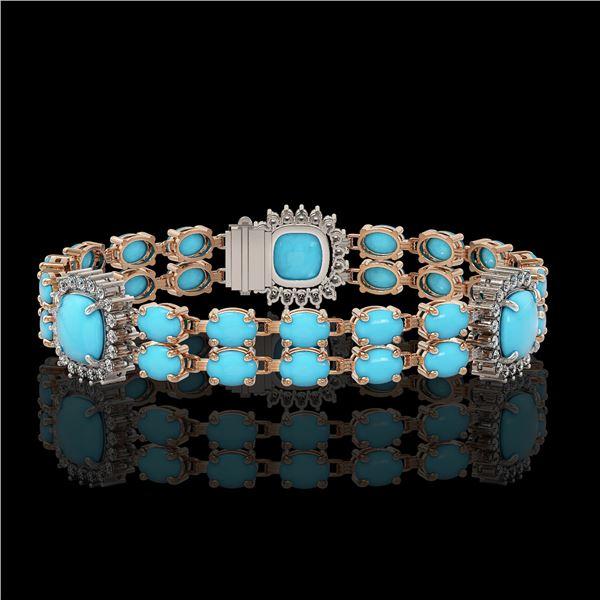 15.27 ctw Turquoise & Diamond Bracelet 14K Rose Gold - REF-263A6N