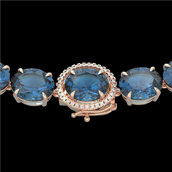 177 ctw London Blue Topaz & Diamond Micro Necklace 14k Rose Gold - REF-563K5Y