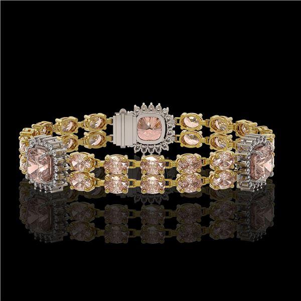 18.59 ctw Morganite & Diamond Bracelet 14K Yellow Gold - REF-331A8N