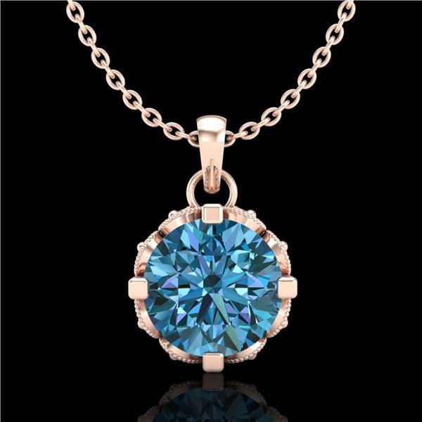 1.14 ctw Fancy Intense Blue Diamond Art Deco Necklace 18k Rose Gold - REF-125Y5X