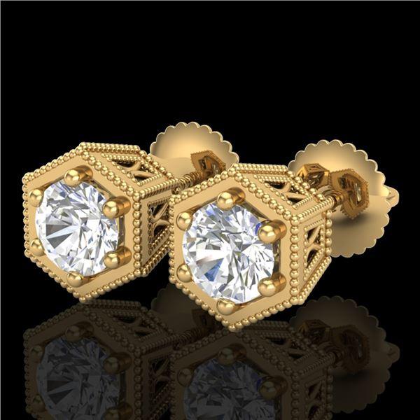 1.15 ctw VS/SI Diamond Solitaire Art Deco Stud Earrings 18k Yellow Gold - REF-214K5Y