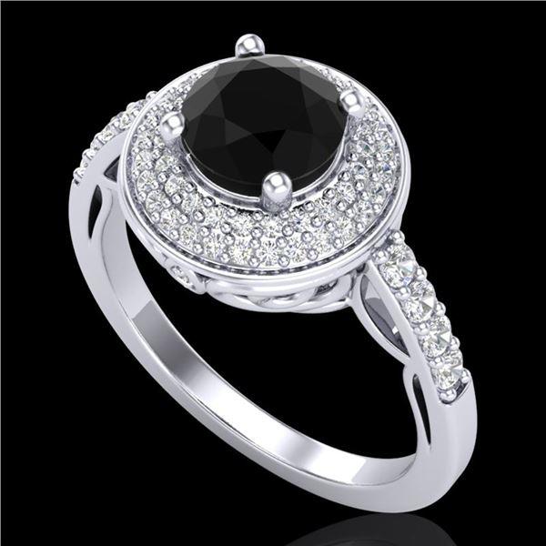 1.7 ctw Fancy Black Diamond Engagment Art Deco Ring 18k White Gold - REF-143X6A