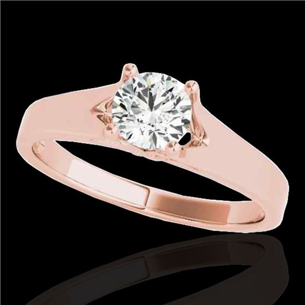 1 ctw Certified Diamond Solitaire Ring 10k Rose Gold - REF-184G3W
