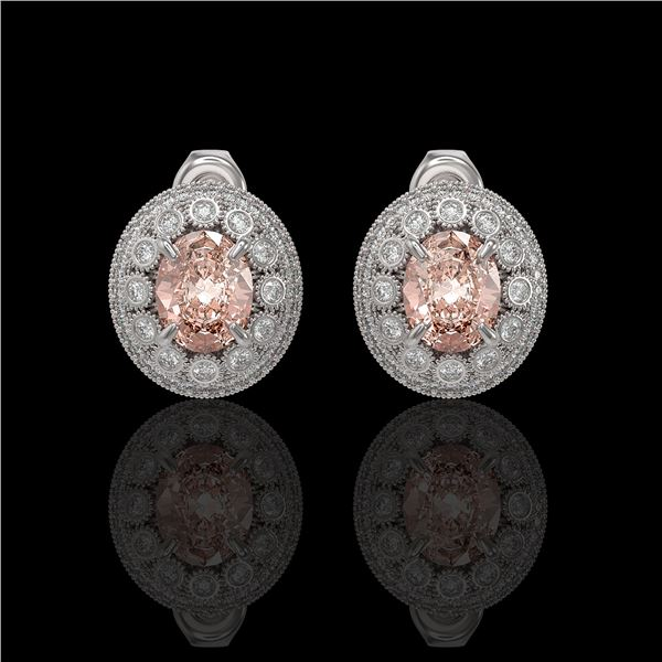7.44 ctw Morganite & Diamond Victorian Earrings 14K White Gold - REF-288W5H