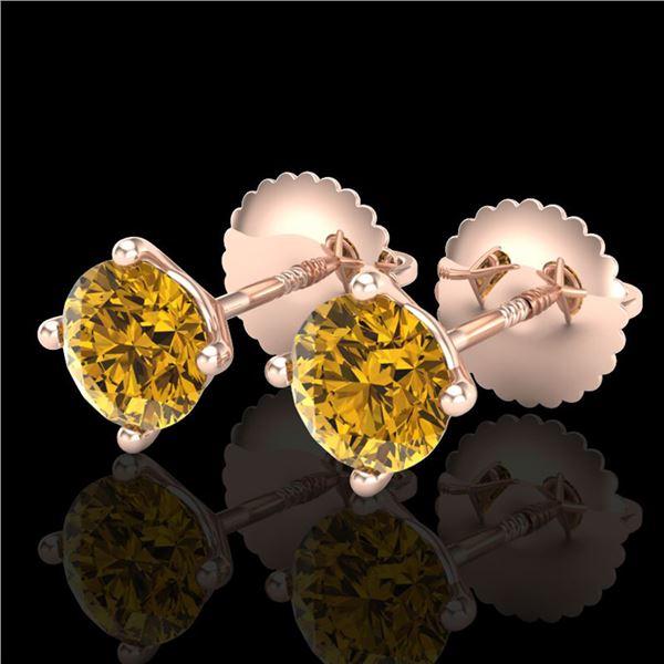 1.01 ctw Intense Fancy Yellow Diamond Art Deco Earrings 18k Rose Gold - REF-107H8R