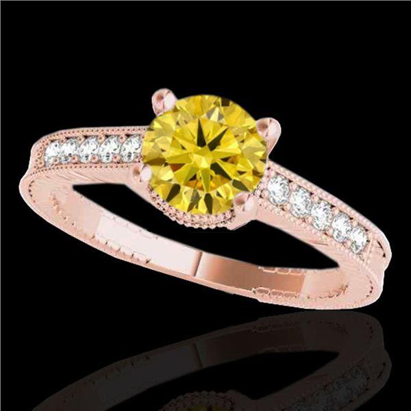 1.2 ctw Certified SI Intense Yellow Diamond Antique Ring 10k Rose Gold - REF-188Y2X