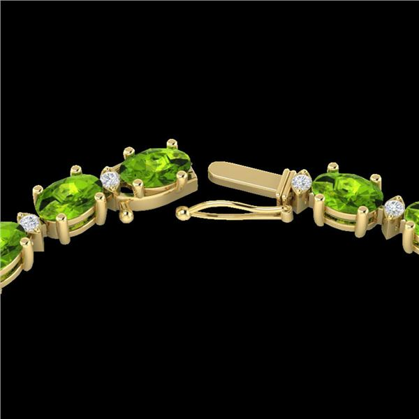 34 ctw Peridot & VS/SI Diamond Certified Necklace White 10k Yellow Gold - REF-213A6N