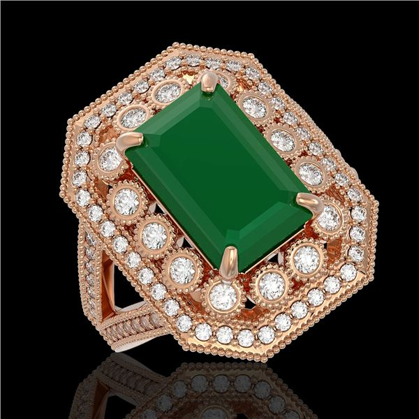 7.11 ctw Certified Emerald & Diamond Victorian Ring 14K Rose Gold - REF-178H2R