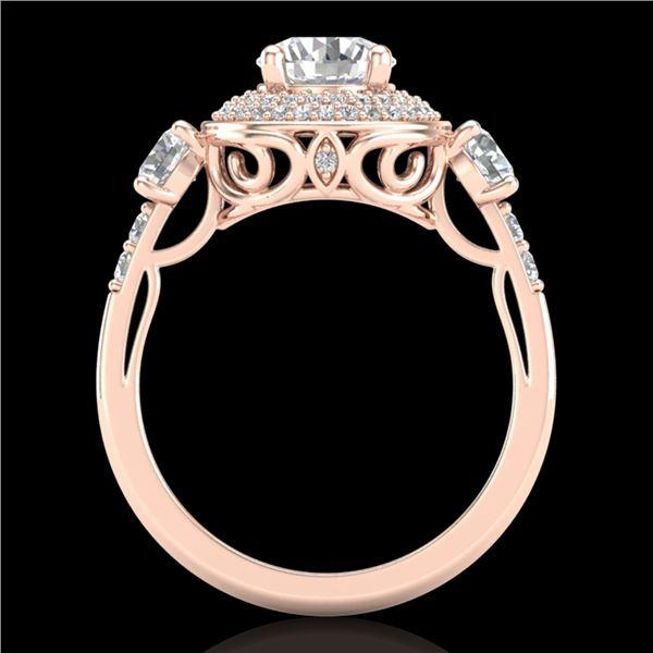 2.05 ctw VS/SI Diamond Solitaire Art Deco 3 Stone Ring 18k Rose Gold - REF-490G9W