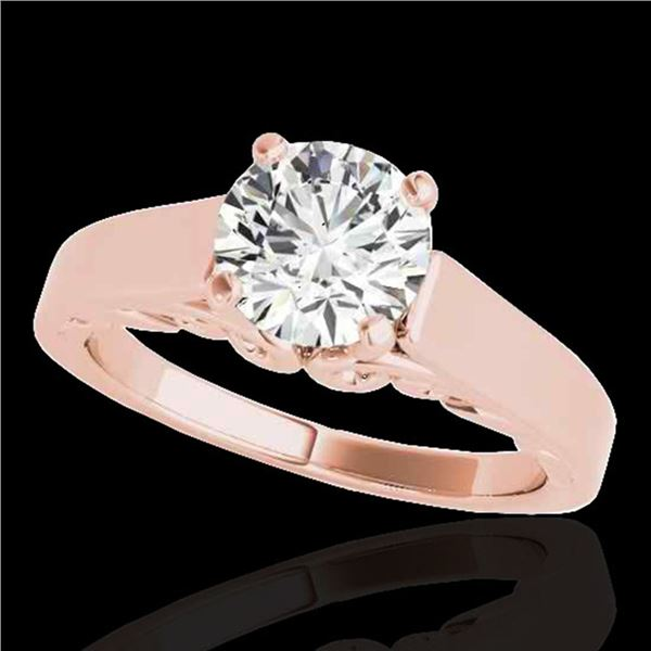 1 ctw Certified Diamond Solitaire Ring 10k Rose Gold - REF-170A5N