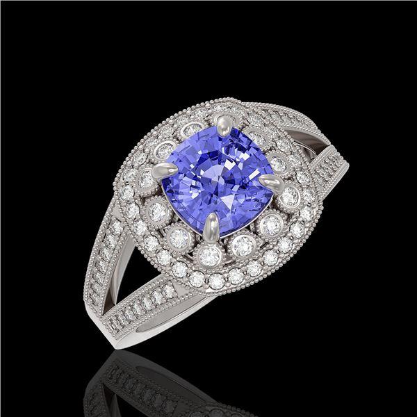 2.74 ctw Certified Tanzanite & Diamond Victorian Ring 14K White Gold - REF-101M8G
