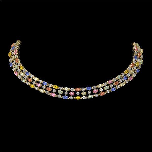61.73 ctw Multi Color Sapphire & Diamond Necklace 10K Yellow Gold - REF-709W3H