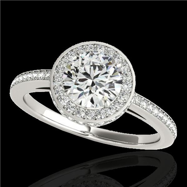 1.55 ctw Certified Diamond Solitaire Halo Ring 10k White Gold - REF-197W8H
