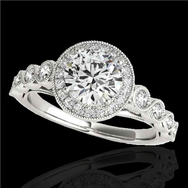 1.93 ctw Certified Diamond Solitaire Halo Ring 10k White Gold - REF-381Y8X