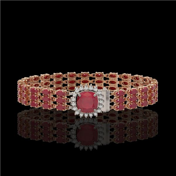 31.91 ctw Ruby & Diamond Bracelet 14K Rose Gold - REF-307G8W