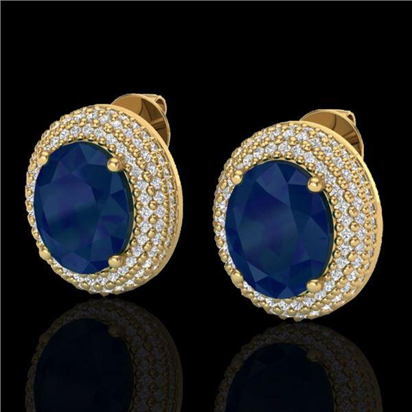 9.20 ctw Sapphire & Micro Pave VS/SI Diamond Earrings 18k Yellow Gold - REF-190A2N